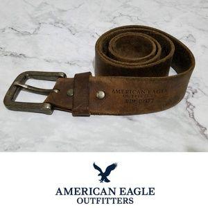 AEO Distressed Riveted Leather Belt Unisex 32 EUC